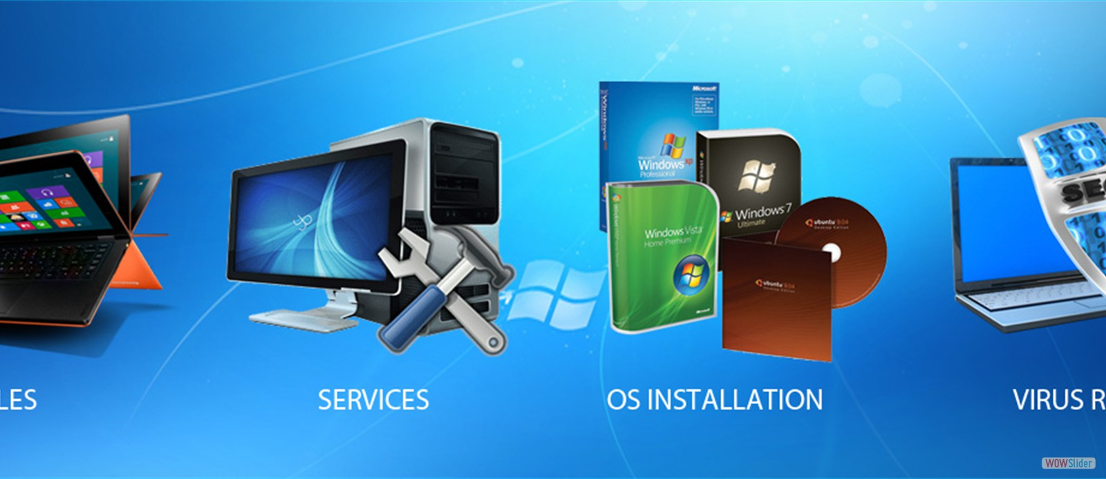 Sales, Repairs, Installation, Software and Web developement, etc